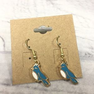 Gold plated blue jay earrings